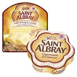 Saint Albray Französischer Weichkäse oder Schnittkäse Scheiben, 60 % Fett i. Tr./12 % Fett absolut,  versch. Sorten, jede 200/180/130-g-Packung