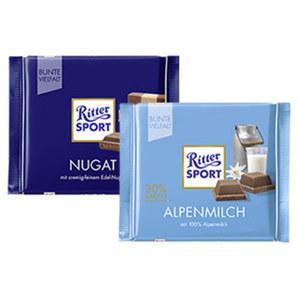 Ritter Sport Schokolade Bunte Vielfalt oder - Bio versch. Sorten, (ausgenommen Laktosefrei) jede 100/65-g-Tafel