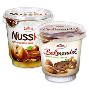 Zentis Nusspli Nuss-Nougat-Creme oder Belmandel Mandel-Nougat-Creme jeder 400-g-Becher