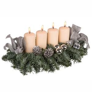 Adventsgesteck mit 4 Kerzen versch. Farben und Deko