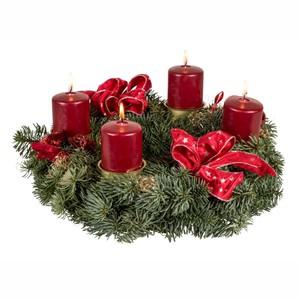 Adventskranz mit 4 Kerzen versch. Farben und Deko