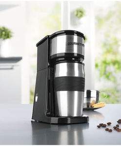 GOURMET MAXX - Kaffeemaschine - mit Thermobecher, Edelstahl - ca. 16,7 x 13 x 24,5 cm