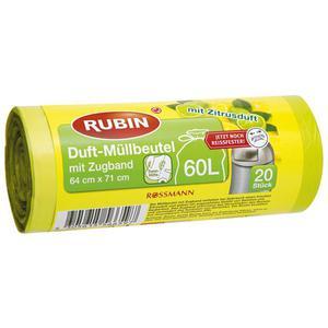RUBIN Duft-Müllbeutel mit Zugand 60 l