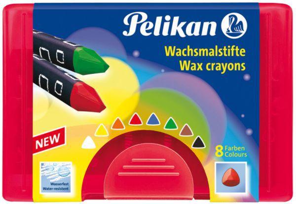 Pelikan, 8 Wachsmaler wasserfest, dreieckig in Kunststoffbox