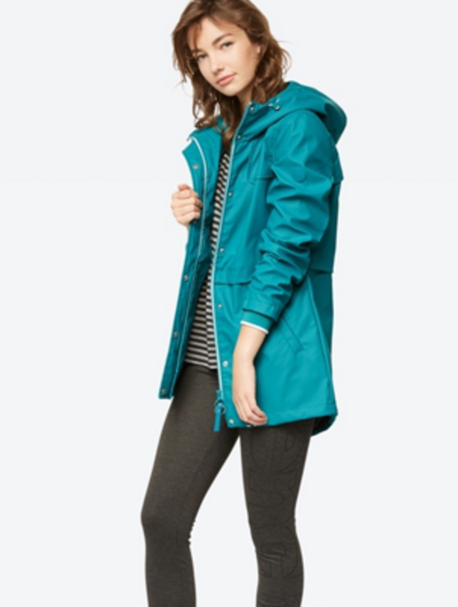 Bild 2 von Unifarbene Regenjacke mit weitenverstellbarer Kapuze