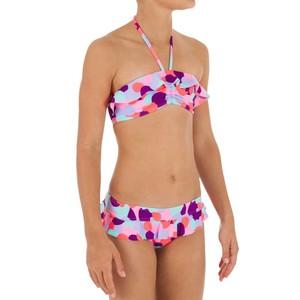 Bikini-Set Bandeau Volant Camo Pink Mädchen TRIBORD