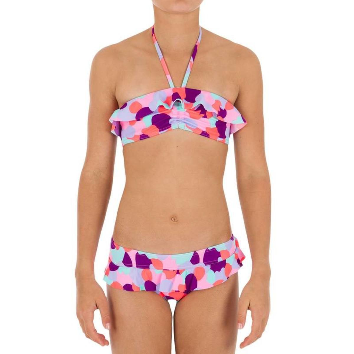 Bild 3 von Bikini-Set Bandeau Volant Camo Pink Mädchen TRIBORD