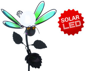 "Näve Deko-Solar-Erdspieß ""Fly"", grün, Material: Metall, Glas"