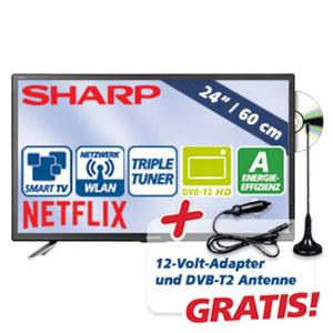 "24""-FullHD-LED-TV/DVD LC-24DFG6132EM H.265, 2 HDMI-/USB-Anschlüsse, CI+, inkl. Antenne und inkl. 12-Volt-Adapter, Stand-by: 0,5 Watt, Betrieb: 25 Watt, Maße: H 32,7 x B 55,2 x T 4,4 cm"
