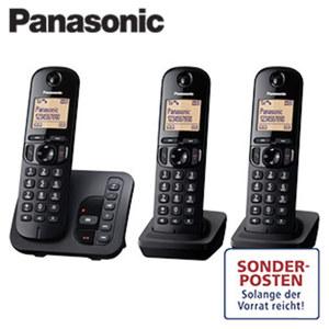 Schnurlos-DECT-Telefon KX-TGC223GB Trio • beleuchtetes Display • Freisprech- und CLIP-Funktion • Telefonbuch für bis zu 50 Einträge • Eco Modus, Standardakkus • digitaler Anrufbeantworter