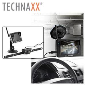 Auto-Rückfahrkamera-System TX 90 kabellos mit LCD-Monitor, Übertragusfrequenz 2468 MHz, Stromversorgung DC 12 V / 24 V (durch Verbindung mit dem Rückfahrlicht)