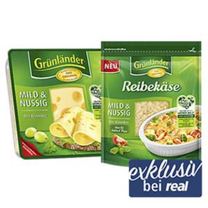 Grünländer Scheiben oder Reibekäse Deutscher Schnittkäse oder geriebener Käse, 48 % Fett i. Tr./17 % Fett absolut, versch. Sorten, jede 160/140/120/110/100-g-Packung