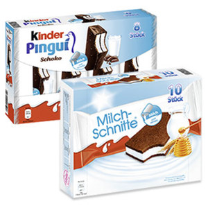 kinder Pingui 8 x 30 = 240 g oder Milchschnitte 10 x 28 = 280 g, jede Packung
