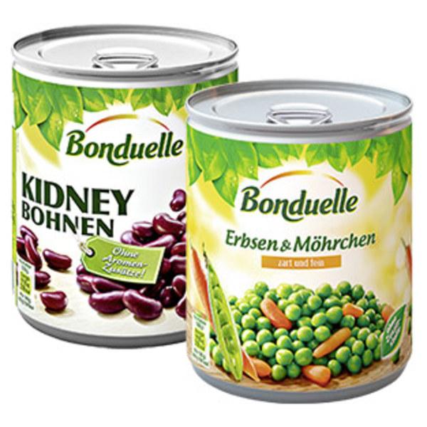 Bonduelle Erbsen mit Möhrchen zart und fein oder Kidneybohnen jede 850-ml-Dose/500/530 g Abtropfgewicht