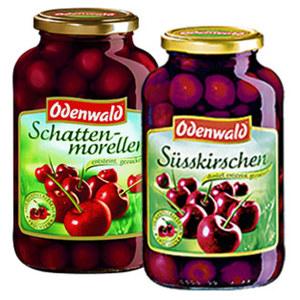 Odenwald Schattenmorellen oder Süßkirschen dunkel jedes 720-ml-Glas/350/360 g Abtropfgewicht