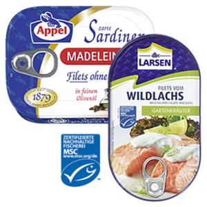 Appel Sardinen oder Larsen MSC Wildlachs versch. Sorten, jede 105/200-g-Dose