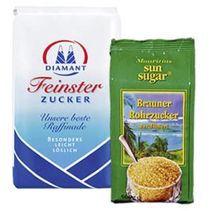 Diamant Feinster Zucker oder Mauritius Brauner Rohrzucker jede 500/1000-g-Packung