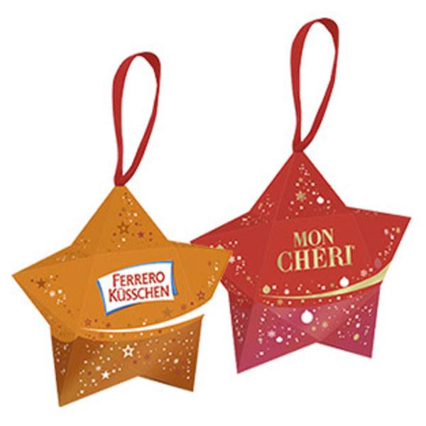 Ferrero Küsschen, Mon Cheri, Raffaello oder Rocher kleiner Stern mit Anhänger jedes 35/38/40/42-g-Stück