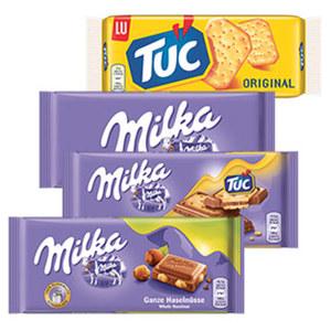 Milka Schokolade oder Tuc versch. Sorten, jede 87/100-g-Tafel