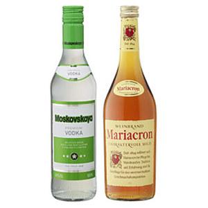 Moskovskaya Russischer Vodka oder Mariacron 36/40 % Vol.,  jede 0,5/0,7-l-Flasche