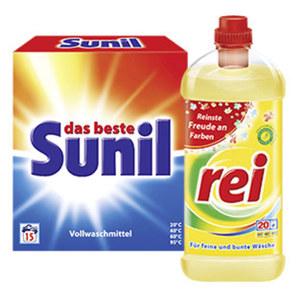 Sunil Waschmittel 15 Waschladungen oder Rei Waschmittel 18/20 Waschladungen, versch. Sorten, jede Packung/Flasche