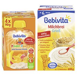 Bebivita Kinder-Spaß 4 x 90 g oder Milchbrei 600 g, versch. Sorten, jede Packung
