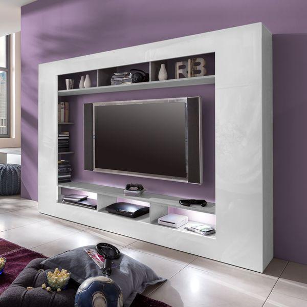 TV-Wand Seki - Hochglanz Weiß / Beton Industry Dekor, Trendteam von ...