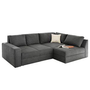 Boxspring-Ecksofa Esbjerg (mit Schlaffunktion / beidseitig montierbar) Microfaser - Grau, Home Design