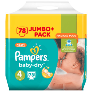 Pampers Baby Dry Gr. 4 Maxi 7-18kg Jumbo Plus Pack 78 Stück