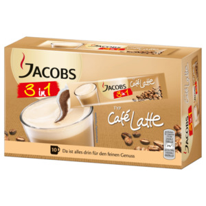 Jacobs 3 in 1 Cafe Latte 125g, 10 Sticks