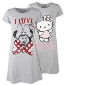 DISNEY oder HELLO KITTY Damen-Nachthemd