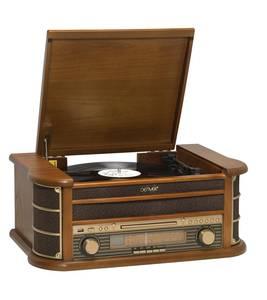 Retro Plattenspieler mit USB, CD, Radio, Kassette und Lautsprechern DENVER®