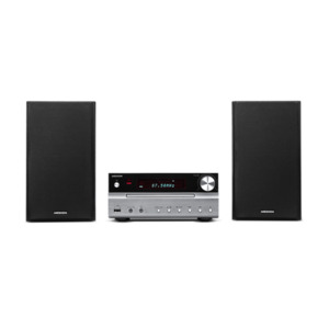 MEDION LIFE P66063 Micro-Audio-System mit CD-Player, Bluetooth 3.0, USB-Anschluss & -Ladefunktion, AUX-Anschluss, PLL-UKW-Stereo-Radio, 2 x 15 W RMS, silber