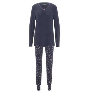 ESPRIT             Schlafanzug, lang, Herz-Print, Bordüre, Baumwolle