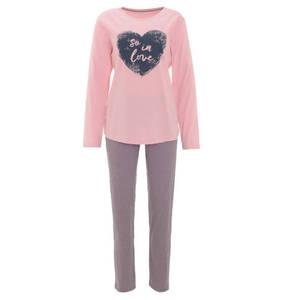 ESPRIT             Schlafanzug, lang, gestreift, Herz-Motiv, Baumwolle