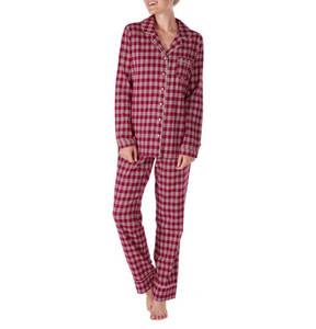 Skiny             Schlafanzug, lang, kariert, Baumwolle, Klappkragen