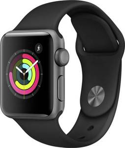 Apple Watch Series 3 38 mm Aluminiumgehäuse Spacegrau Sportarmband Schwarz