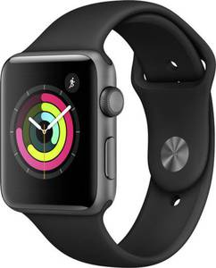 Apple Watch Series 3 42 mm Aluminiumgehäuse Spacegrau Sportarmband Schwarz