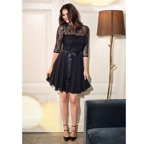 Laura Torelli COLLECTION Tailliertes Damen-Kleid mit atemberaubender Spitze