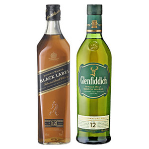 Glenfiddich 12 Jahre Single Malt Scotch Whisky oder Johnny Walker Black label 40 % Vol.,  jede 0,7-l-Flasche