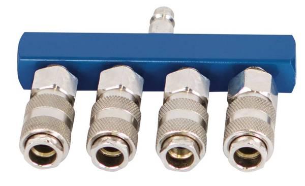 Druckluftverteiler Schnellanschlusskupplungen - 4-fach Scheppach
