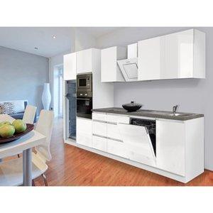 Respekta Premium Küchenzeile Grifflos 345 cm Weiß Hochglanz-Weiß