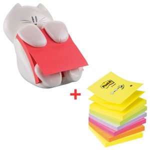 Post-it® Super Sticky Haftnotizspender in Katzenform, weiß inkl. Haftnotizen Z-Notes, 76 x 76 mm, 90 Blatt + Haftnotizen Z-Notes, neonfarben, 6x 100 Blatt