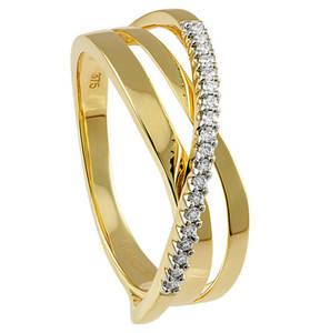 Moncara Diamant-Ring 375 Gelbgold mit 19 Diamanten 5aa3e6e28b0c8
