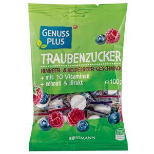 GENUSS PLUS Traubenzucker-Bonbons mit Himbeer- & Heidelbeer-Geschmack