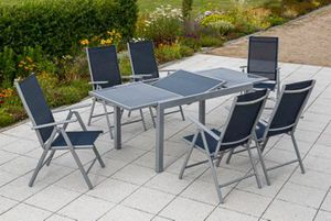 Merxx Tischgruppe Amalfi, 7-tlg marineblau, Tisch 160/220 x 90 cm