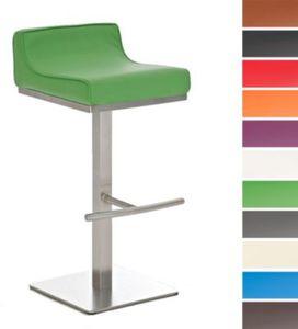 Edelstahl-Barhocker GRAZ mit Kunstlederbezug (aus bis zu 11 Farben wählen) Sitzhöhe 76 cm, mit extra dickem Polster