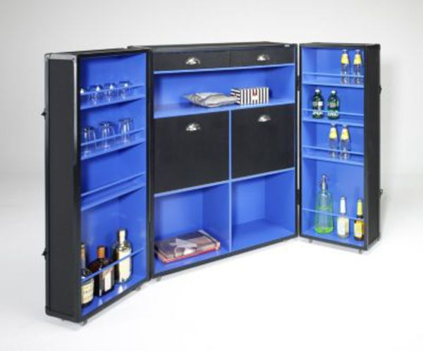 artra design kofferschrank bar schwarz blau schrankkoffer. Black Bedroom Furniture Sets. Home Design Ideas