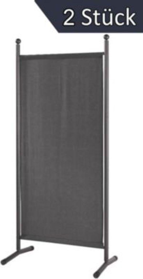 Grasekamp 2 Stück Stellwand 78x178cm Grau Paravent Raumteiler