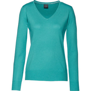 Adagio Damen Seide-Cashmere Pullover, V-Ausschnitt